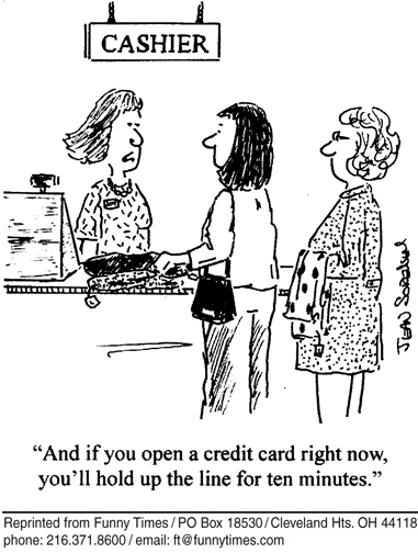 Funny checkout line sorensen  cartoon, December 20, 2006