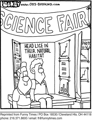 Funny head science fair  cartoon, April 11, 2007