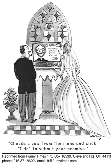 Funny marriage vows computer  cartoon, June 06, 2007