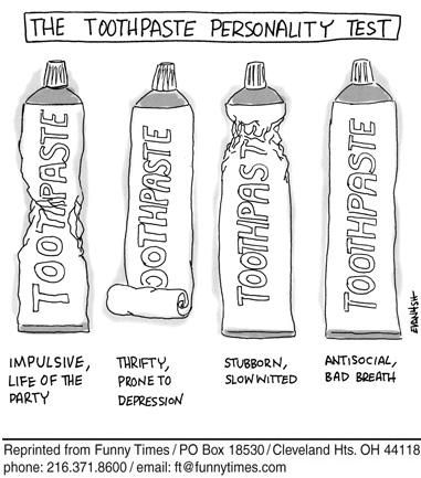 Funny toothpaste depression test cartoon, September 26, 2007