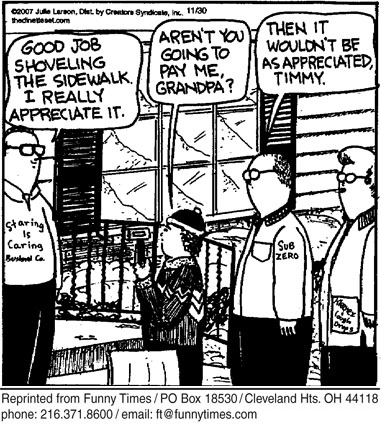 Funny work sidewalk money  cartoon, March 05, 2008