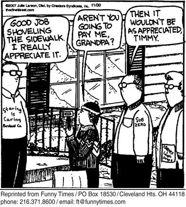 Funny work sidewalk money  cartoon, March 05, 2008
