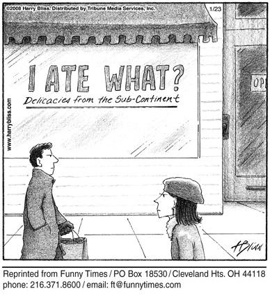Funny food risk restaurant  cartoon, June 18, 2008