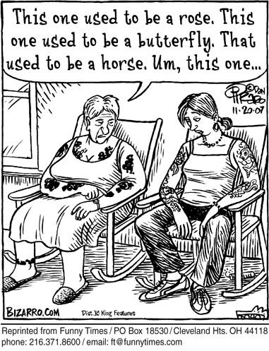 Funny elderly piraro tattoo  cartoon, November 05, 2008