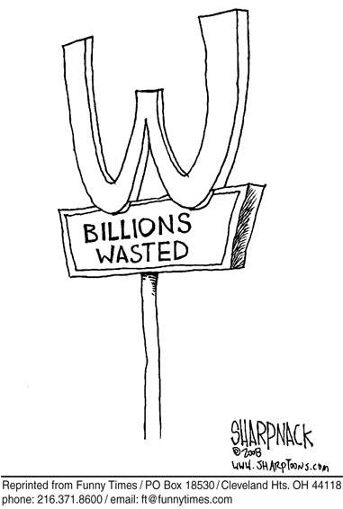 Funny money wasted mcdonalds  cartoon, December 17, 2008