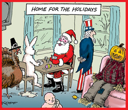 Kopf cartoon - home for the holidays