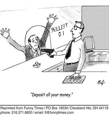 Funny crisis depression money cartoon, January 21, 2009