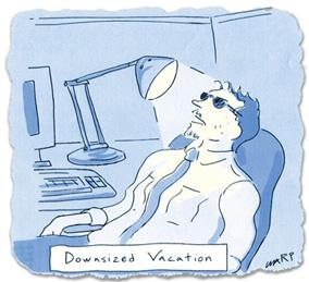 Warp cartoon - downsized vacation