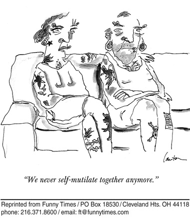 Funny marriage piercing office  cartoon, May 13, 2009