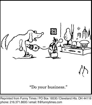 Funny dog work business  cartoon, December 01, 2010