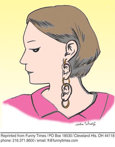 Funny woman hearing fashion cartoon, April 06, 2011