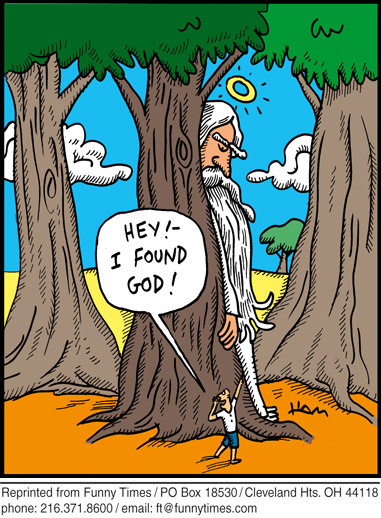 Funny religion tree god  cartoon, July 27, 2011