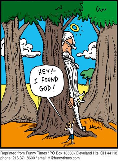 Funny religion tree god cartoon, July 27, 2011