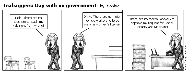 Teabaggers Day with no government by Sophie