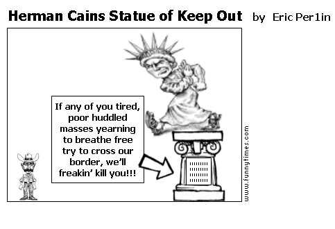 Herman Cains Statue of Keep Out by Eric Per1in