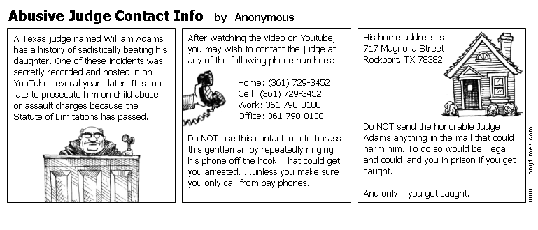 Abusive Judge Contact Info by Anonymous