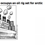 Greenpeace occupys an oil rig set for ar