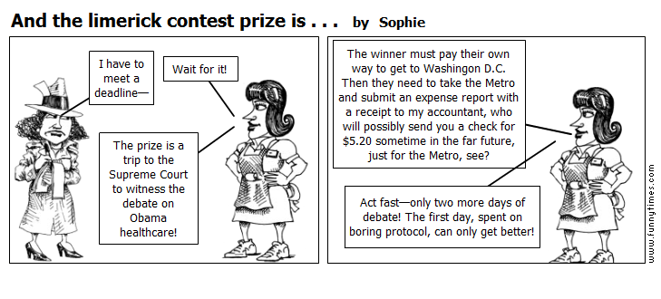 And the limerick contest prize is . . . by Sophie