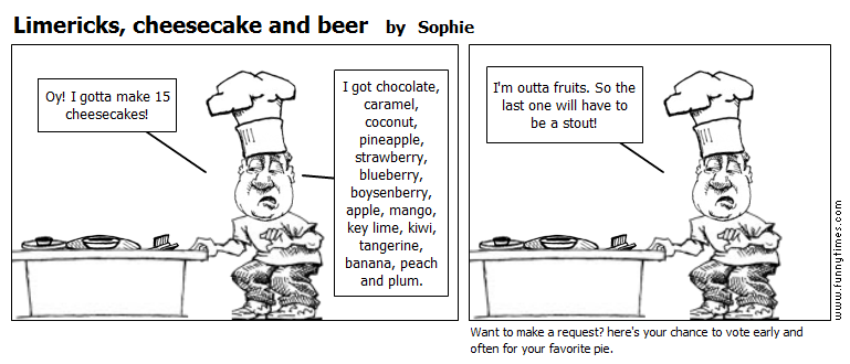 Limericks, cheesecake and beer by Sophie