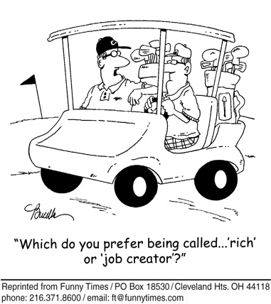 Funny wealthy marketing golf  cartoon, July 25, 2012