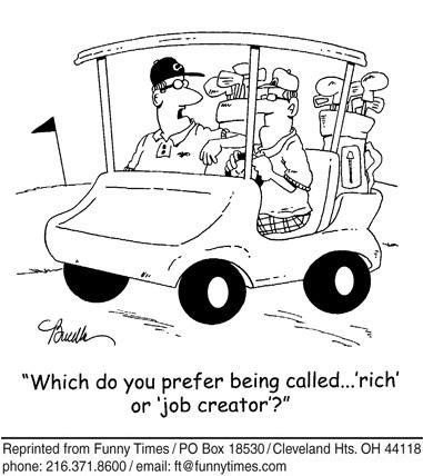 Funny wealthy marketing golf  cartoon, July 25, 2012