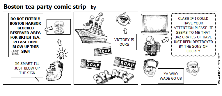 Boston tea party comic strip by
