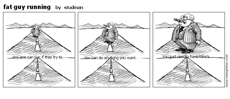fat guy running by studman