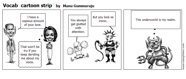 Vocab  cartoon strip by Manu Gummaraju