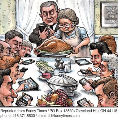 Funny wuerker holiday technology cartoon, December 19, 2012