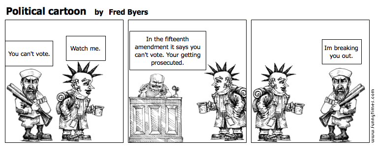 Political cartoon by Fred Byers