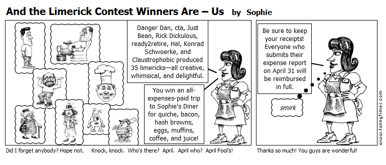 And the Limerick Contest Winners Are  Us by Sophie