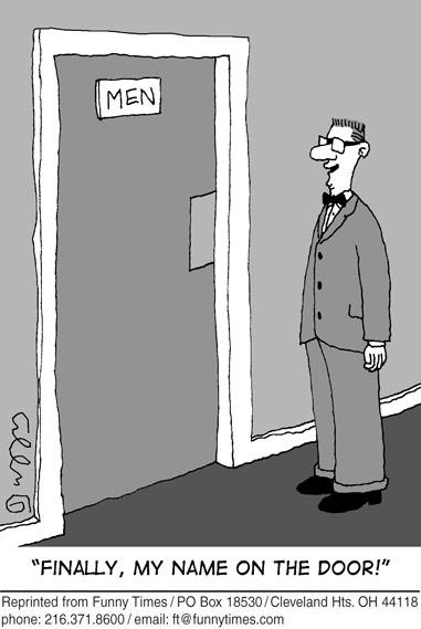 Funny business men bathroom cartoon, September 11, 2013