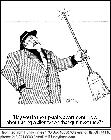 Funny ceiling neighbors guns  cartoon, October 16, 2013