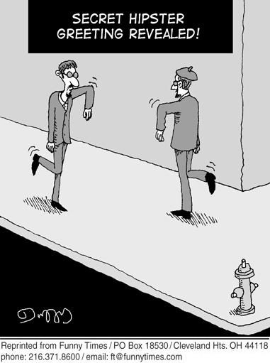Funny greeting hipster  cartoon, October 23, 2013