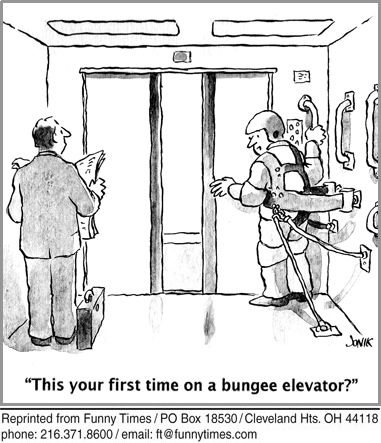Funny elevator bungee jonik  cartoon, November 06, 2013