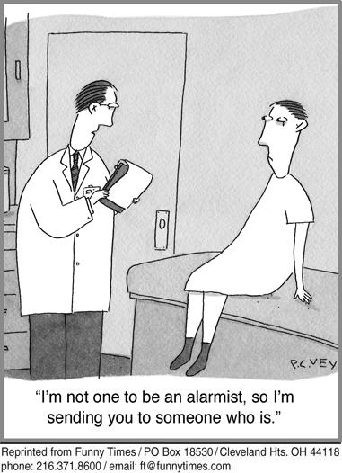 Funny doctor diagnosis illness  cartoon, April 30, 2014