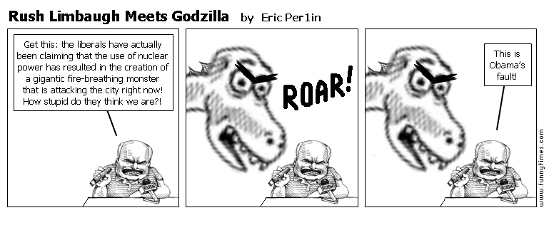 Rush Limbaugh Meets Godzilla by Eric Per1in