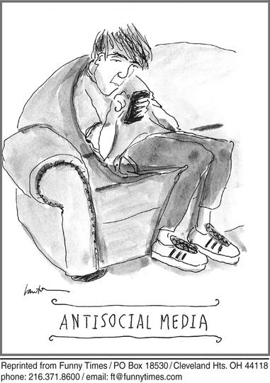 Funny media technology social  cartoon, June 04, 2014