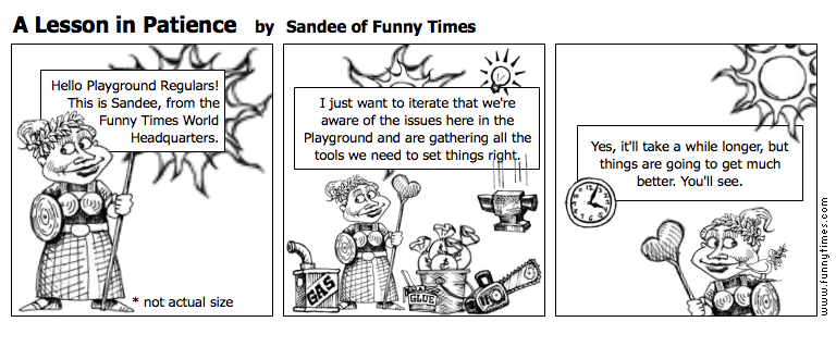 A Lesson in Patience by Sandee of Funny Times