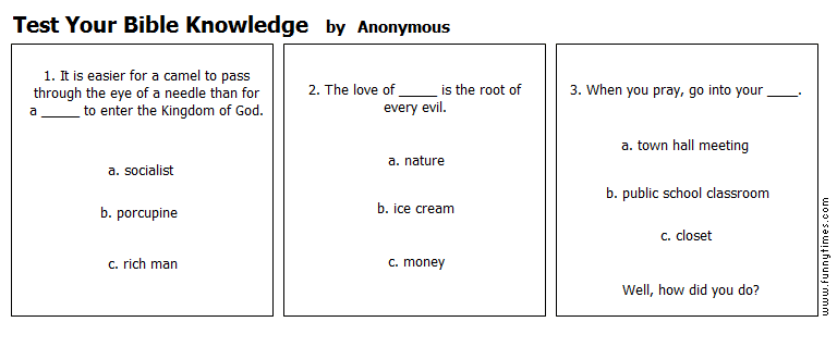 Test Your Bible Knowledge by Anonymous